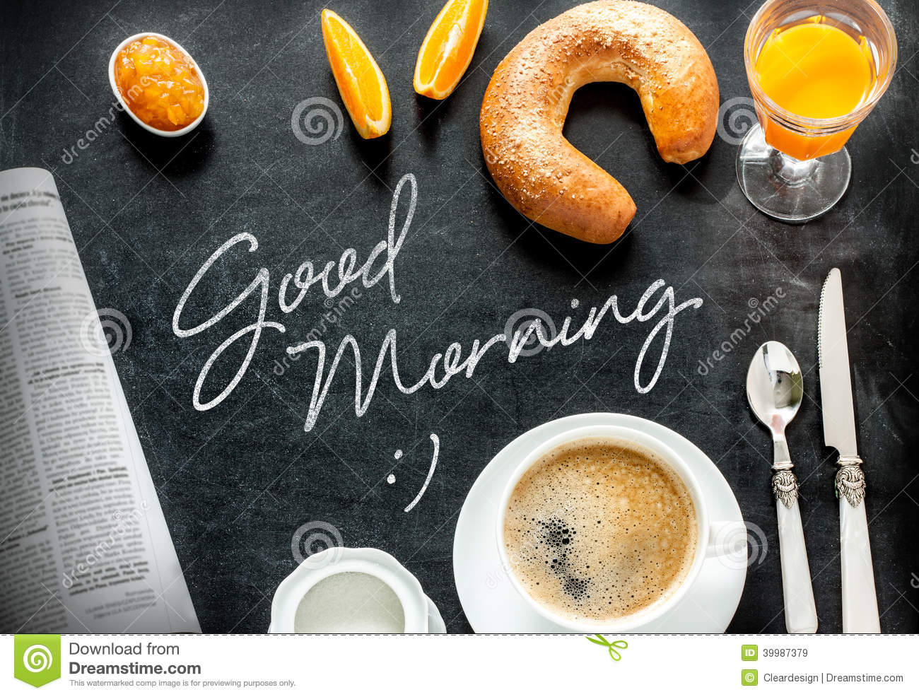 Good morning poster design with continental breakfast on black ...