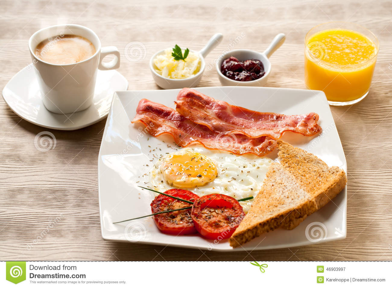 Continental Breakfast With Coffee And Orange Juice. Stock Photo - Image: 46903997