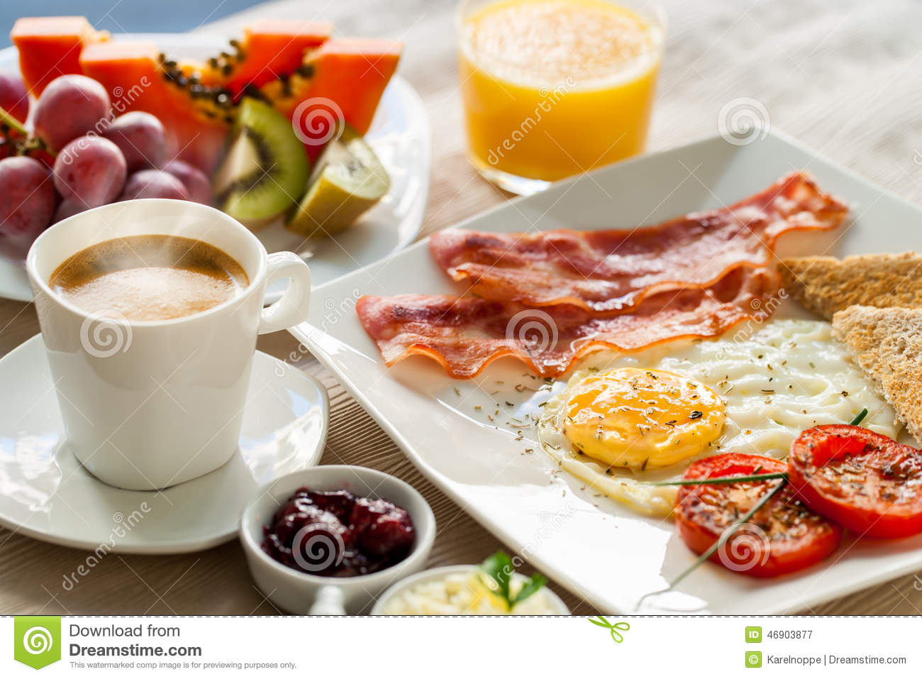 Continental Breakfast With Fresh Fruit. Stock Photo ...