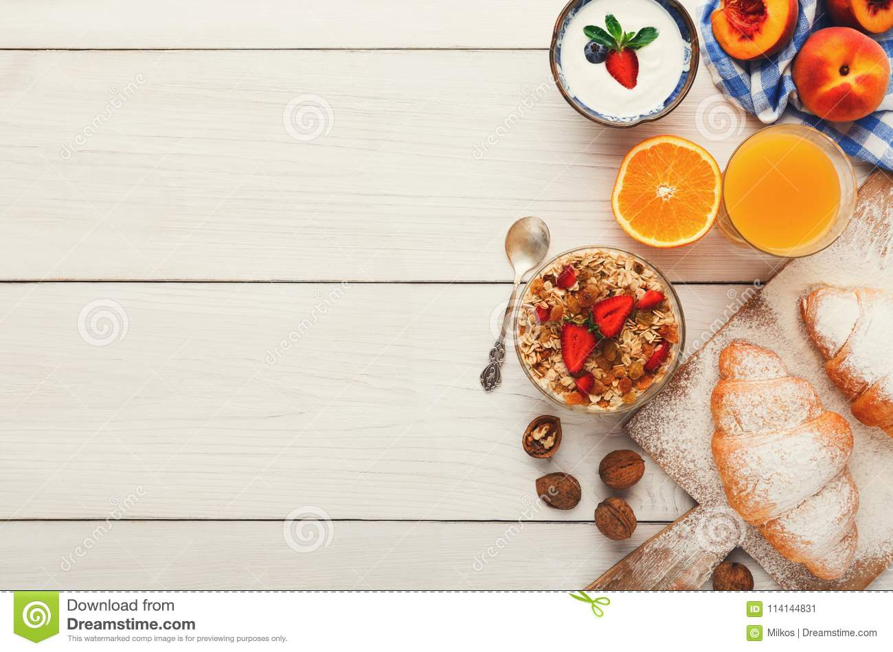 continental breakfast menu on woden table stock image - image of