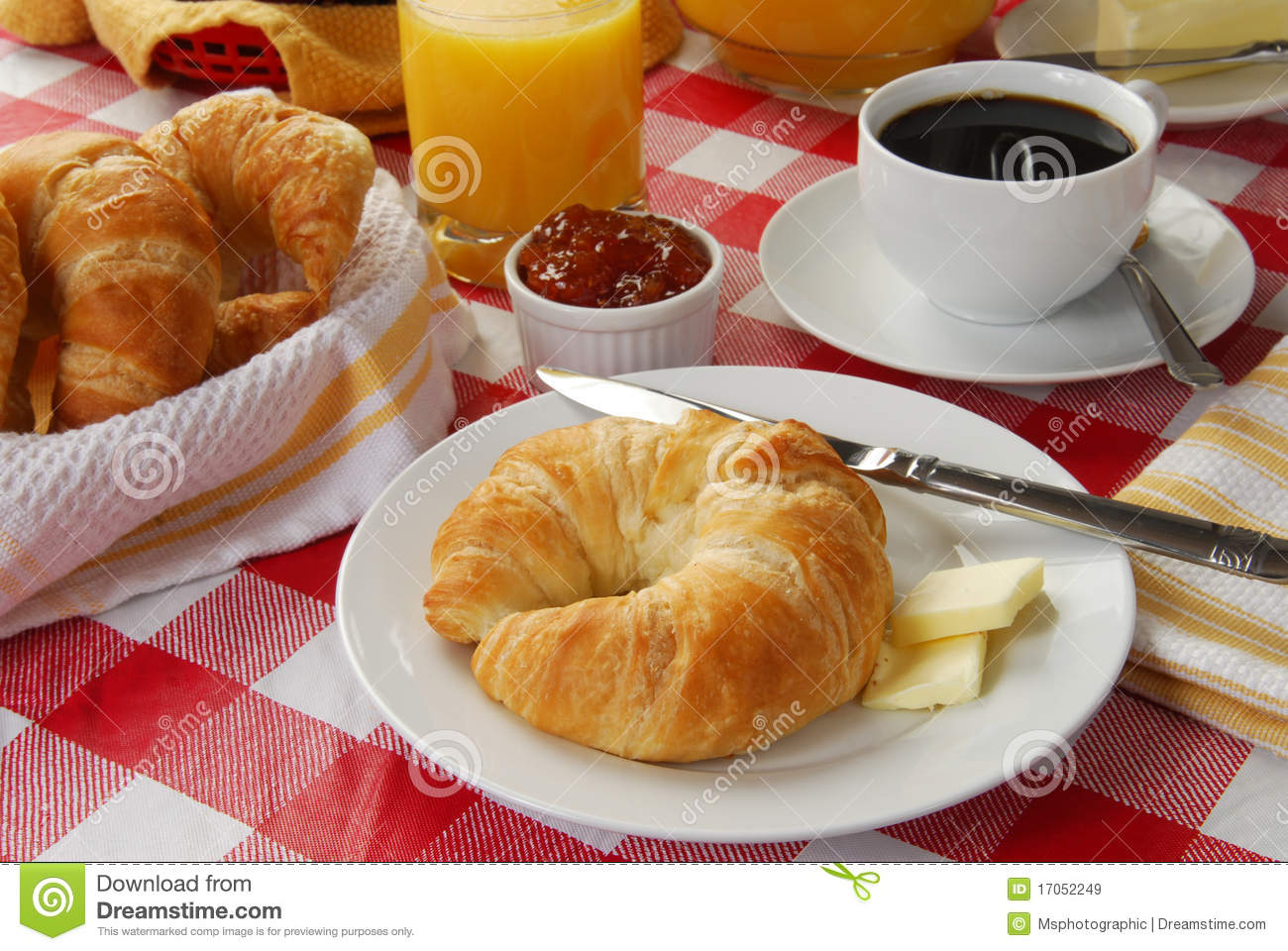 Continental Breakfast On A Picnic Table Royalty Free Stock Images ...