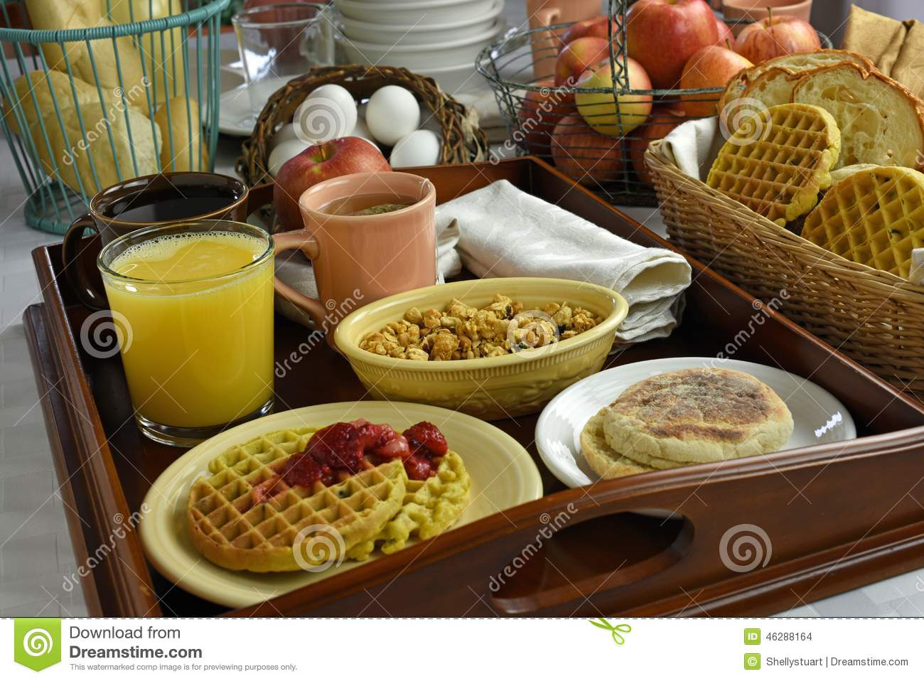 Continental Breakfast On Wood Tray Stock Photo Image