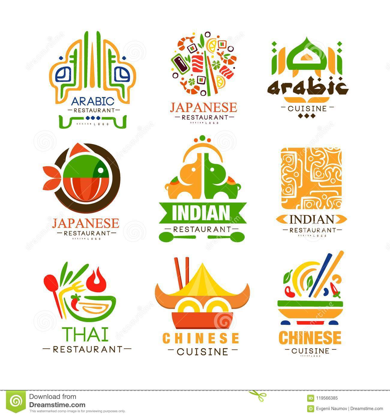 Continental Cuisine Logo Design Set Arabic Japanese Thai Chinese Indian Authentic Traditional Continental Food Stock Vector Illustration Of Concept Japanese 119566385