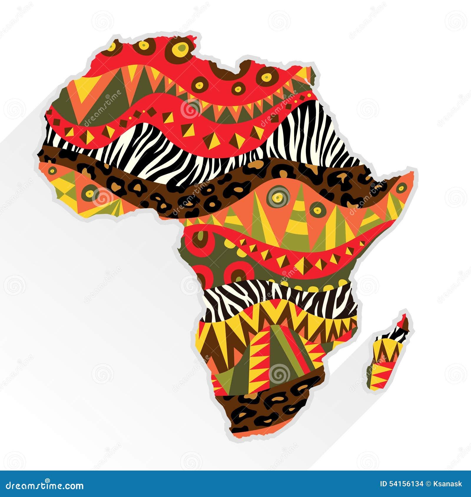 Continente dell Africa decorato con il modello etnico
