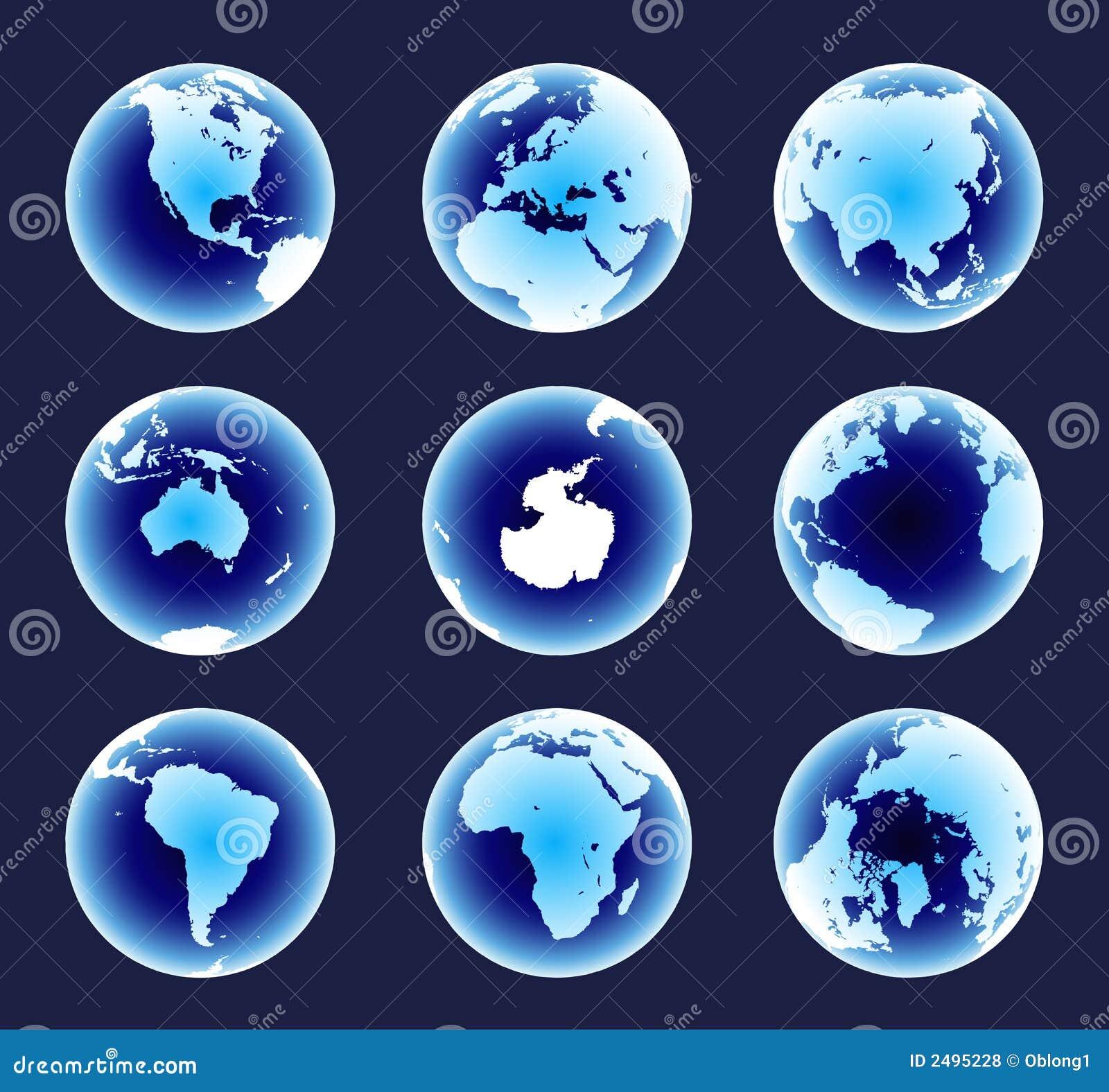 Continentes azuis do mundo