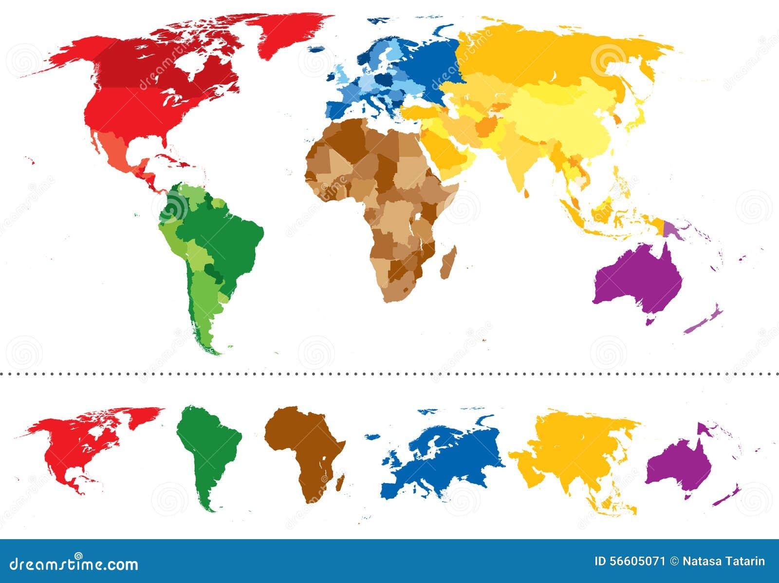 Continentes Do Mapa Do Mundo Coloridos Ilustração Do
