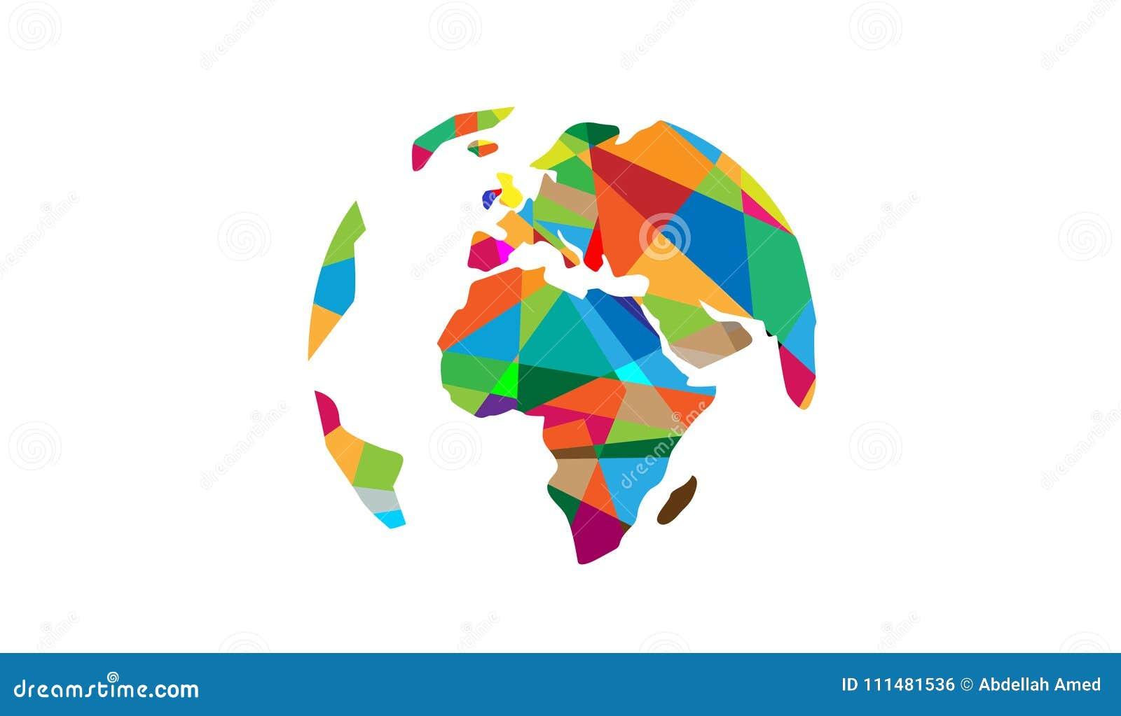Continentes Logo Map Design do pixel do mundo