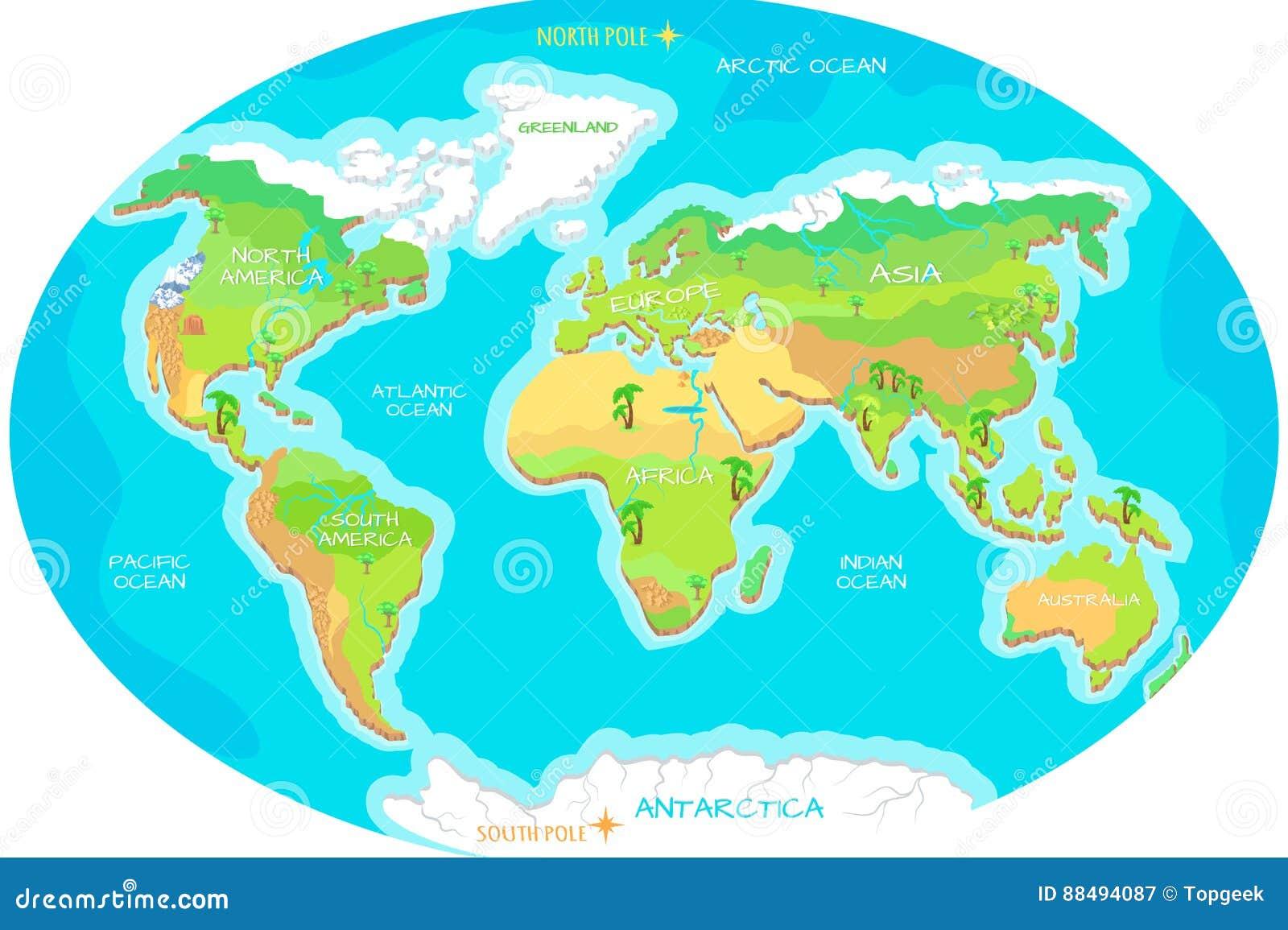 Cartina Del Mondo Con Continenti.Continenti Oceani Sulla Mappa Del Mondo Il Nostro Pianeta