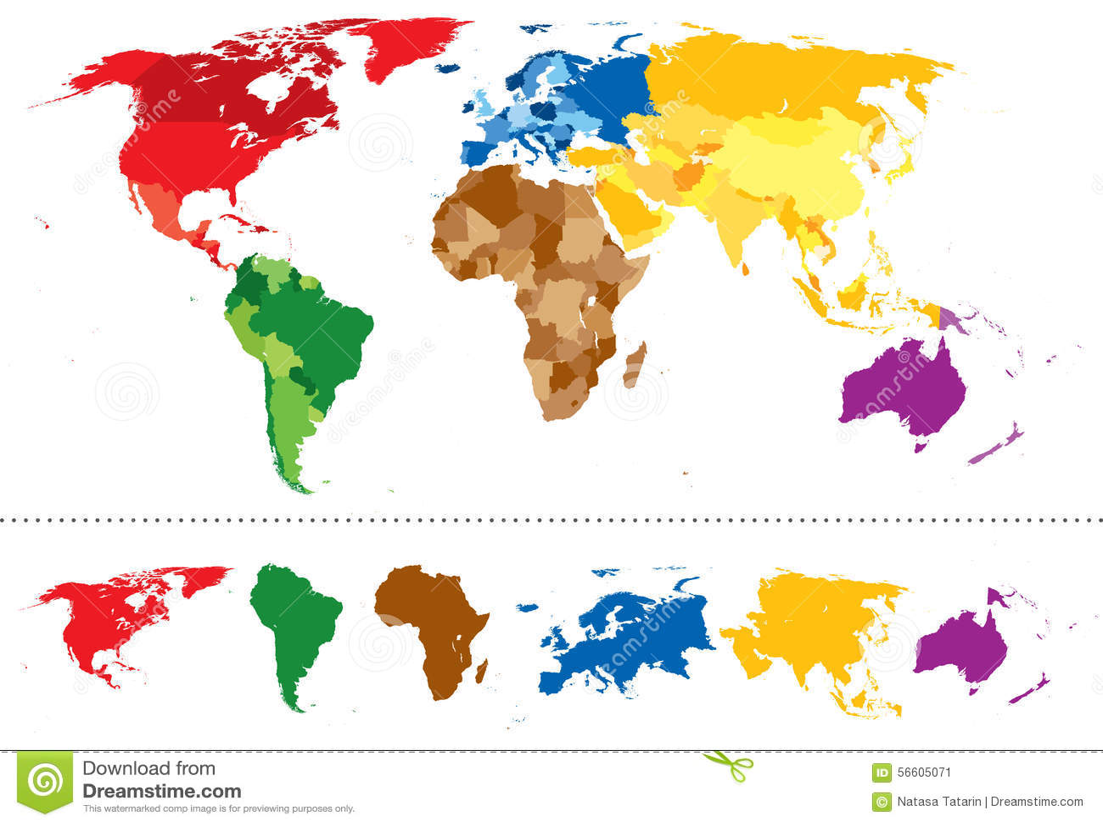 Continents de carte du monde multicolores illustration de vecteur image 56 - Carte du monde en couleur ...