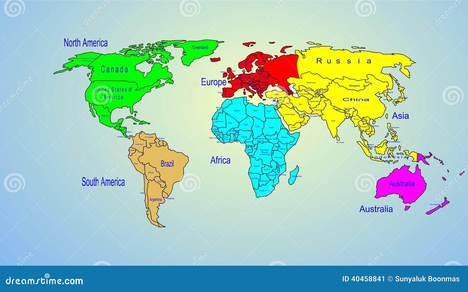 Carte Du Monde Nom.Continents Et Nom Du Pays De Carte Couleur Du Monde
