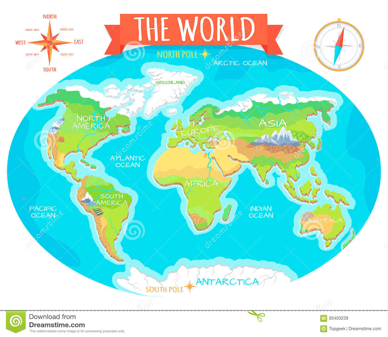 Continents Oceans On Map Of World Our Planet Stock Vector