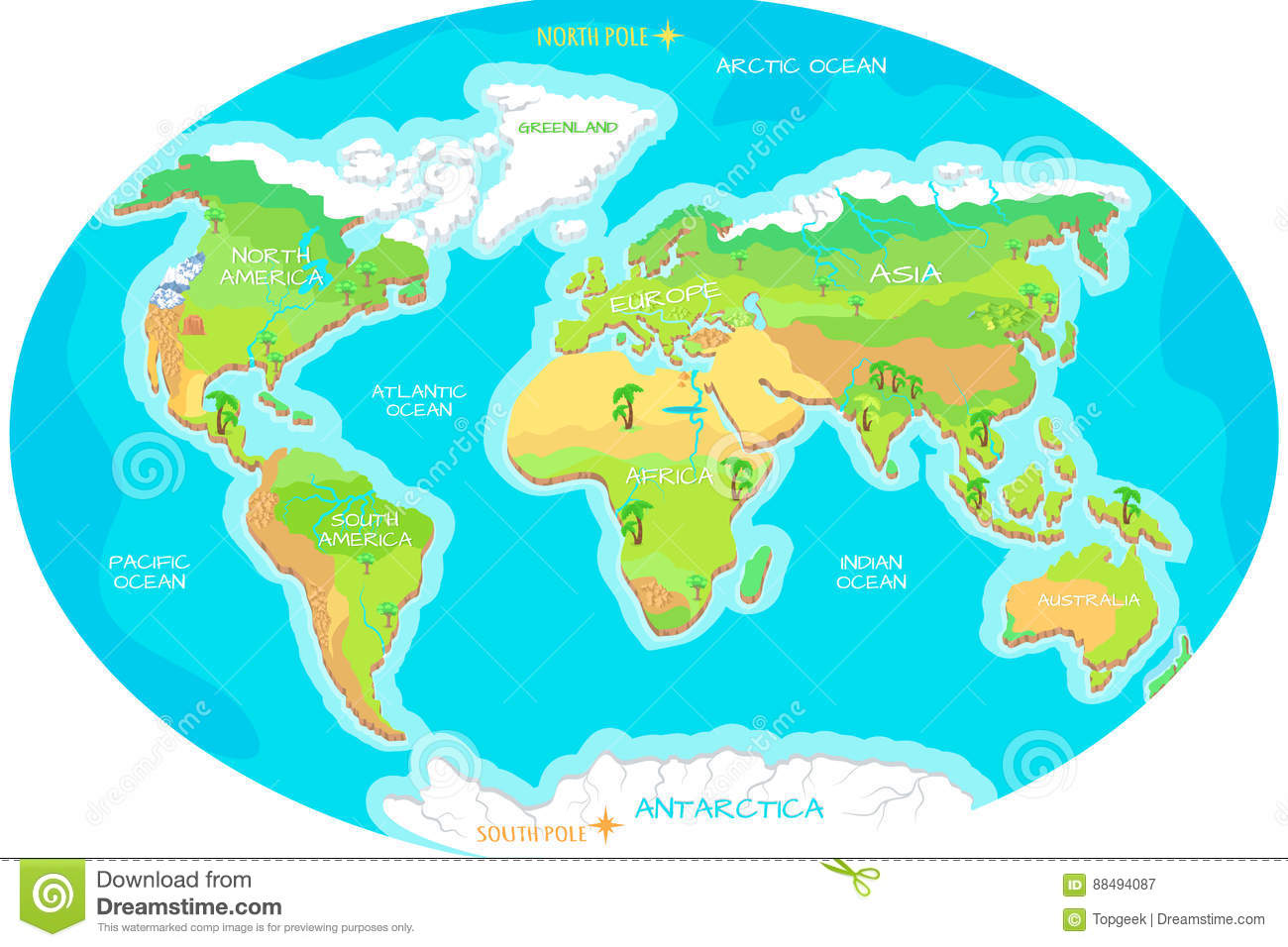 Continents oceans on map of world our planet stock vector continents oceans on map of world our planet gumiabroncs Image collections