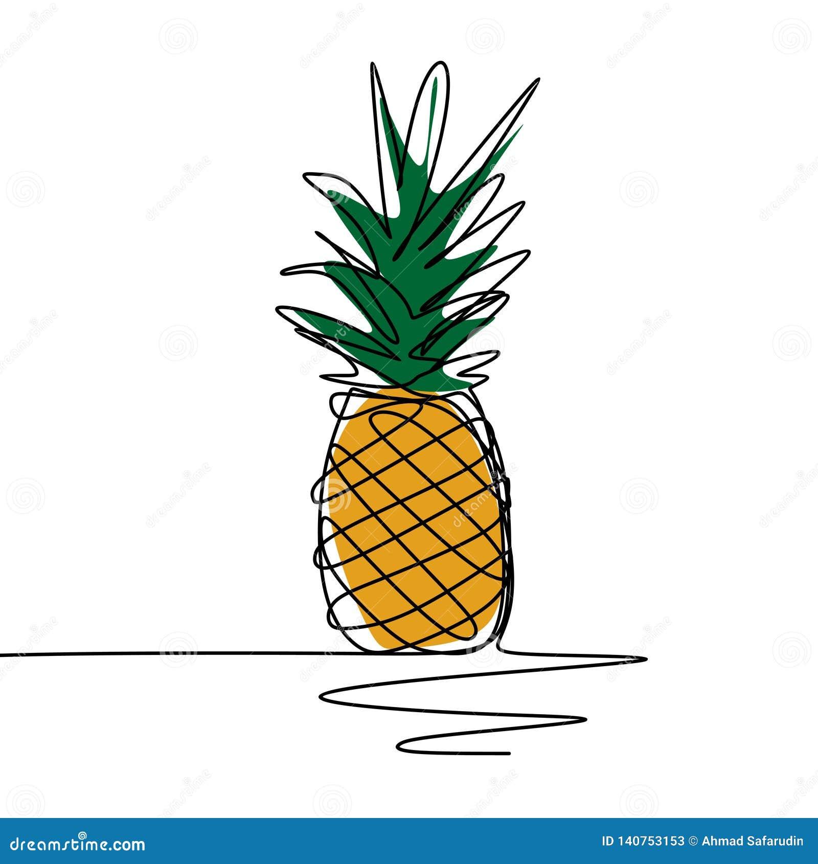 Continu Conception Minimaliste Ananas Un Dillustration De