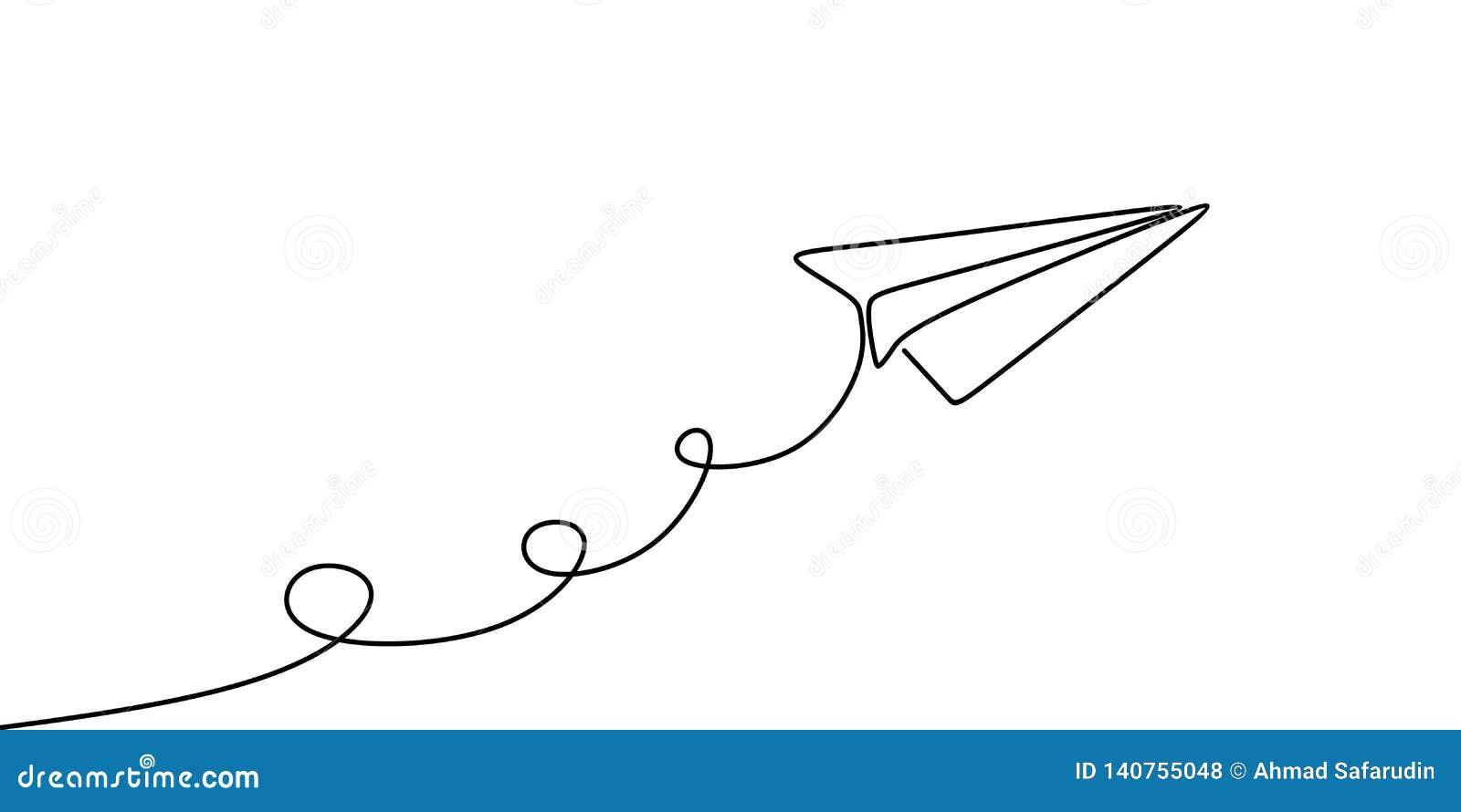 Continu conception minimaliste avion de papier un d illustration de vecteur de dessin au trait d isolement sur le fond blanc