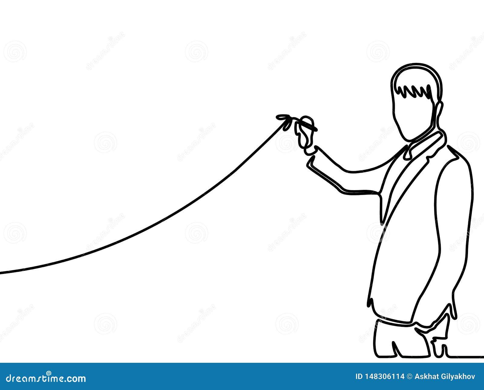 Continu diagramme en hausse de dessin d homme d affaires de dessin au trait Illustration de vecteur