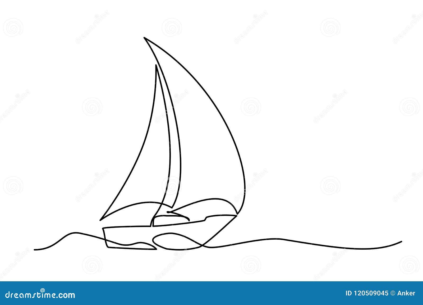 Continu Voilier De Dessin Au Trait Illustration De Vecteur Illustration Du Continu Trait 120509045