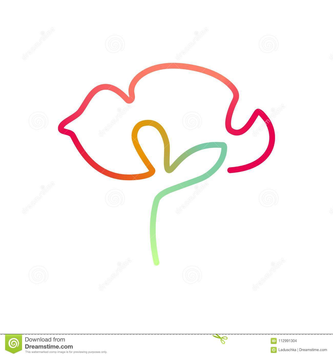 Continuous bright line art of poppy flower
