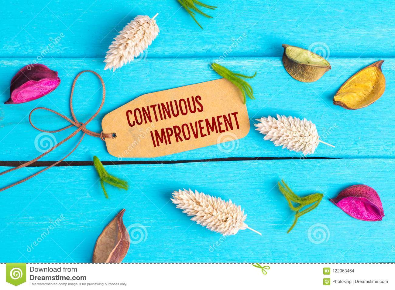 Continuous improvement text on paper tag
