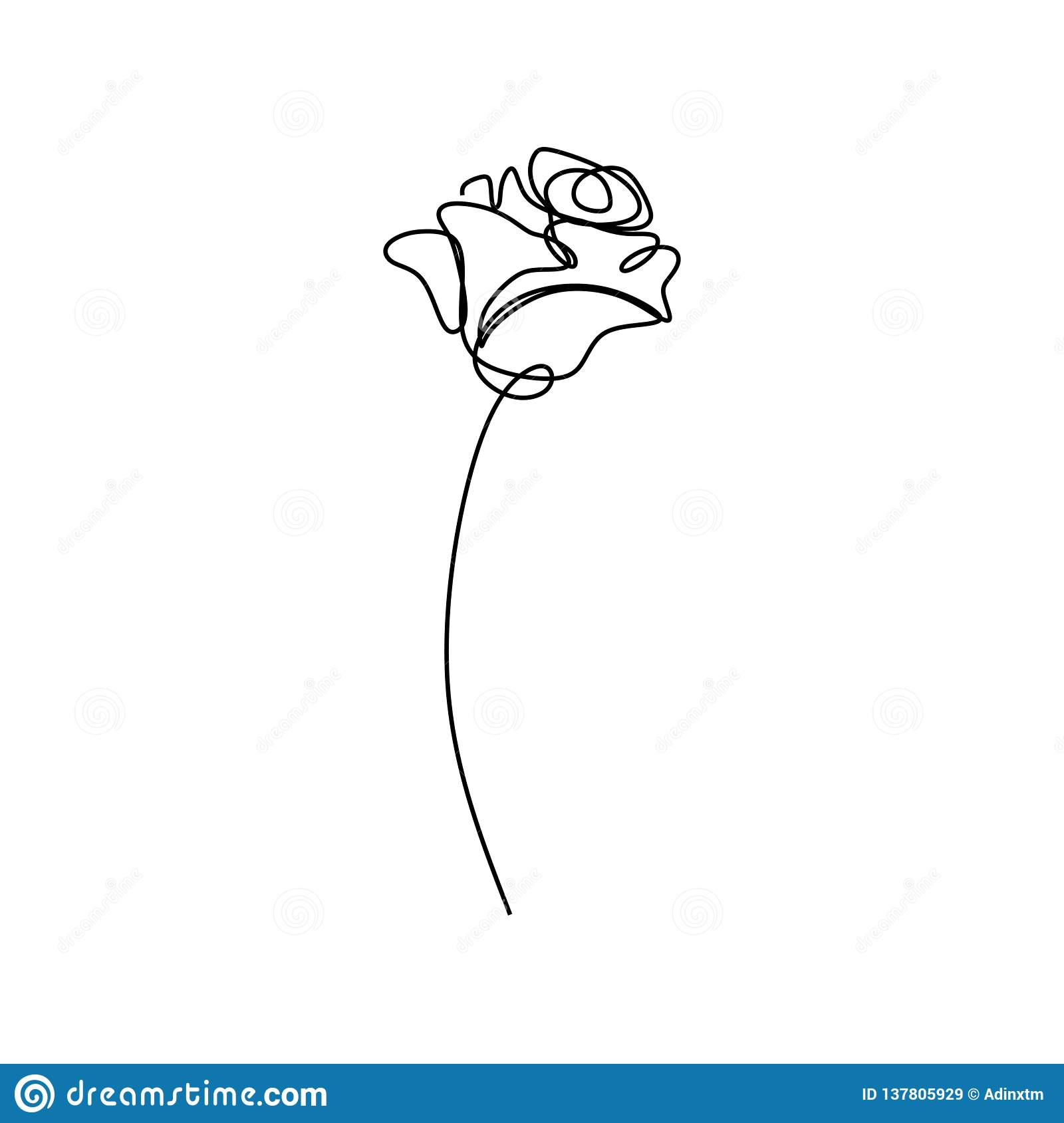 Simple Continuous Line Art Drawing Of Flower Vector Illustration Minimalist Hand Drawn One Single Stripe Design Isolated On White Stock Vector Illustration Of Linear Symbol 137805929