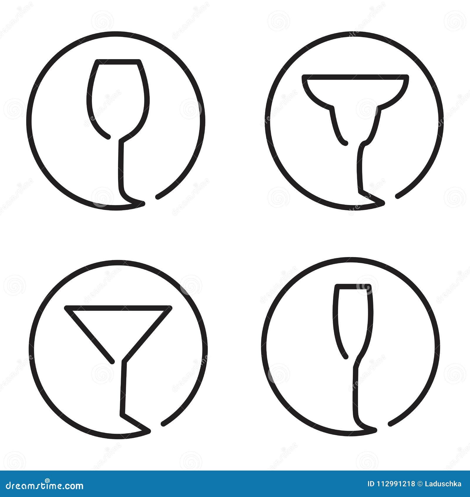 Continuous line art logo set of different glasses, wine, margarita cocktail, martini, champaign