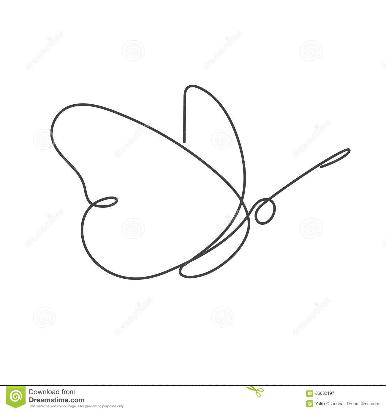Line Art Design Illustration : Continuous line butterfly white one drawing stock