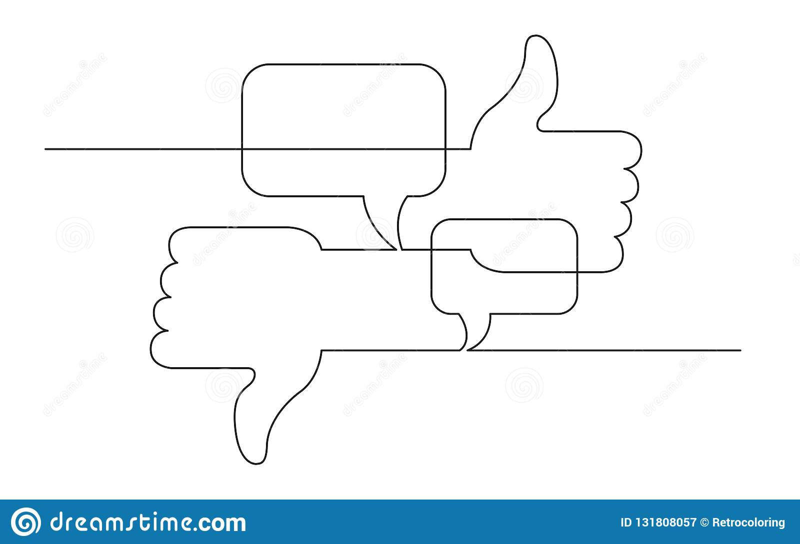 Continuous line concept sketch drawing of social media like, dislike and opinions symbols