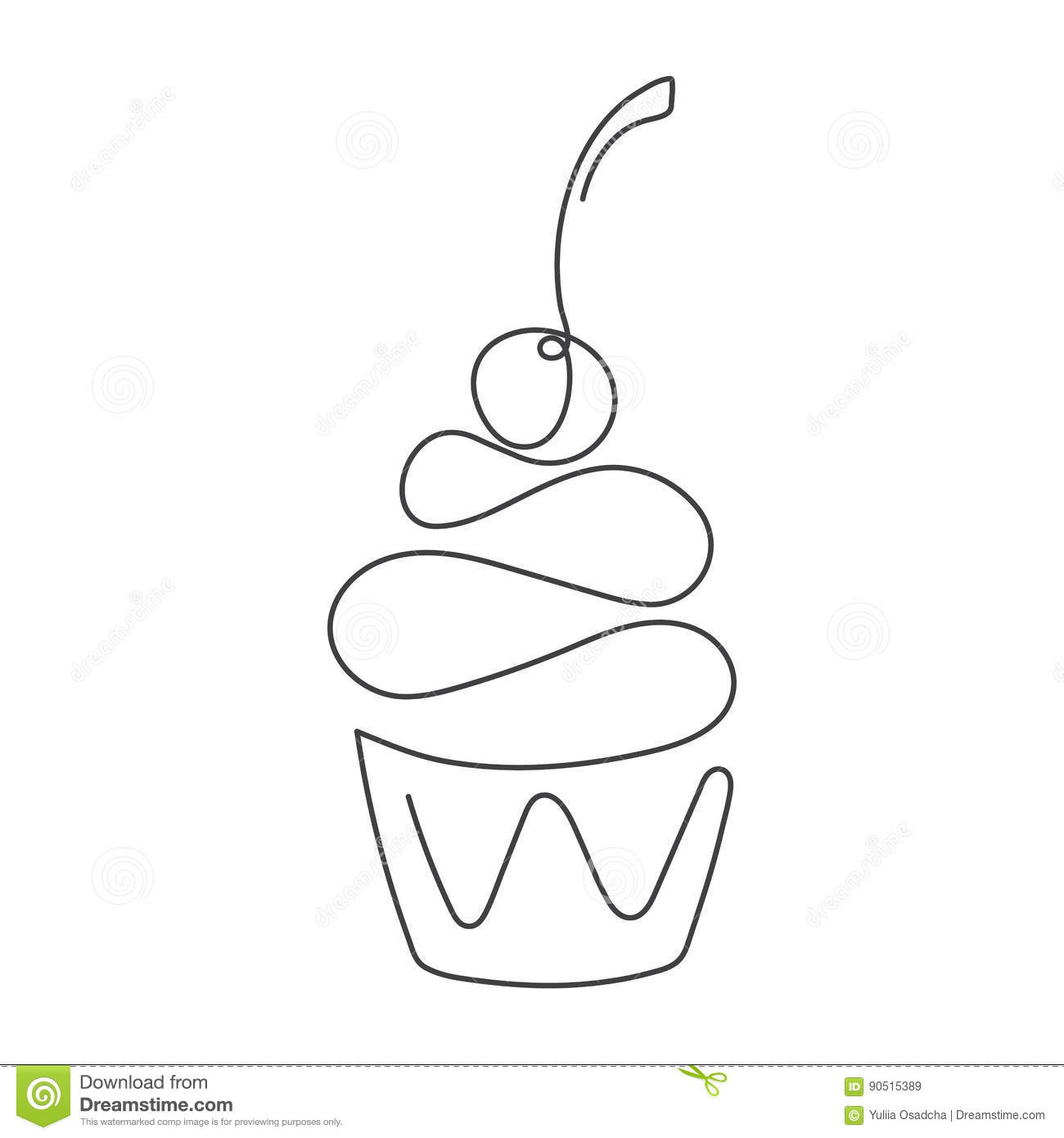 Vector Drawing Lines Xbox One : Continuous line cupcake with cherry on top isolated