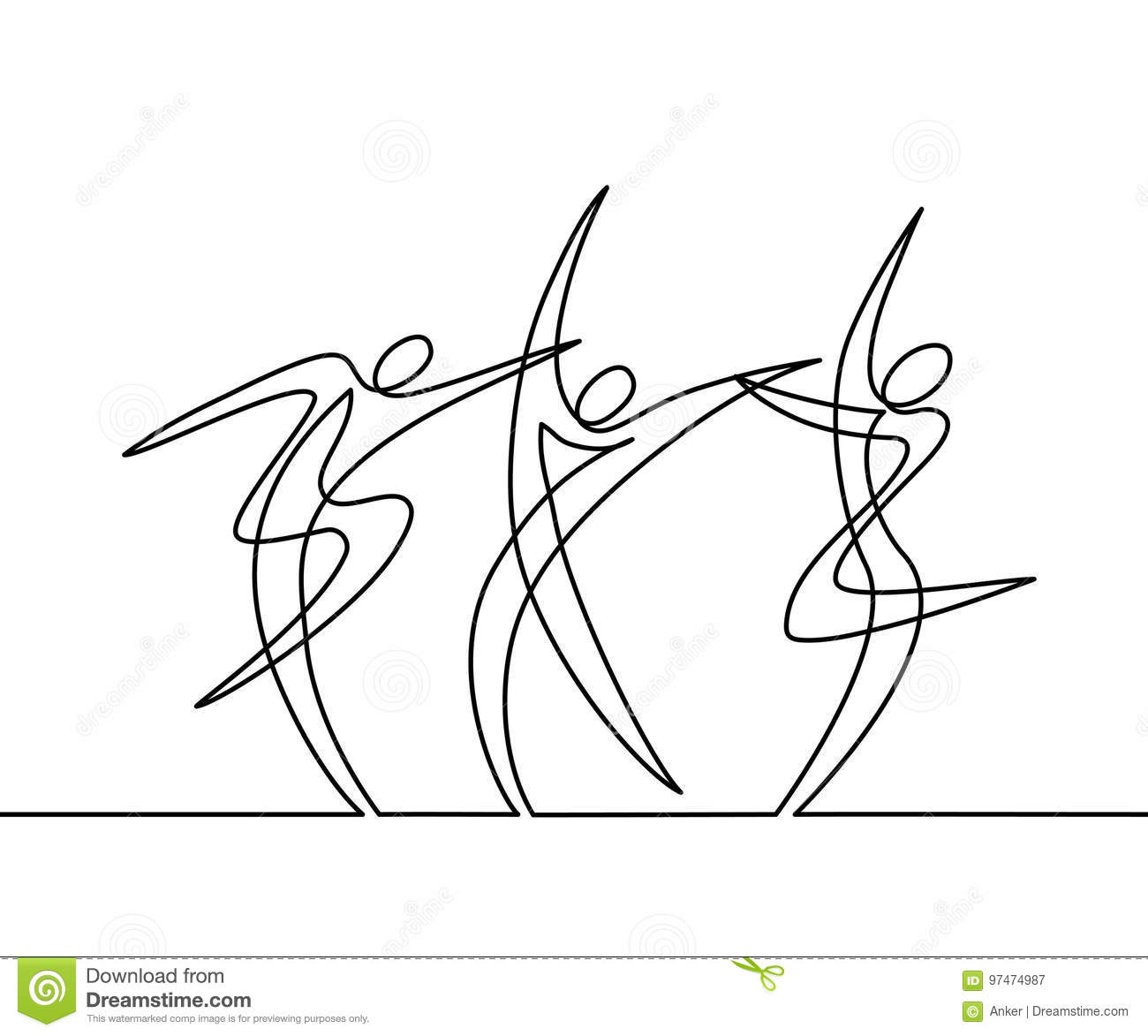 Line Art Illustration : Continuous line drawing of abstract dancers stock vector