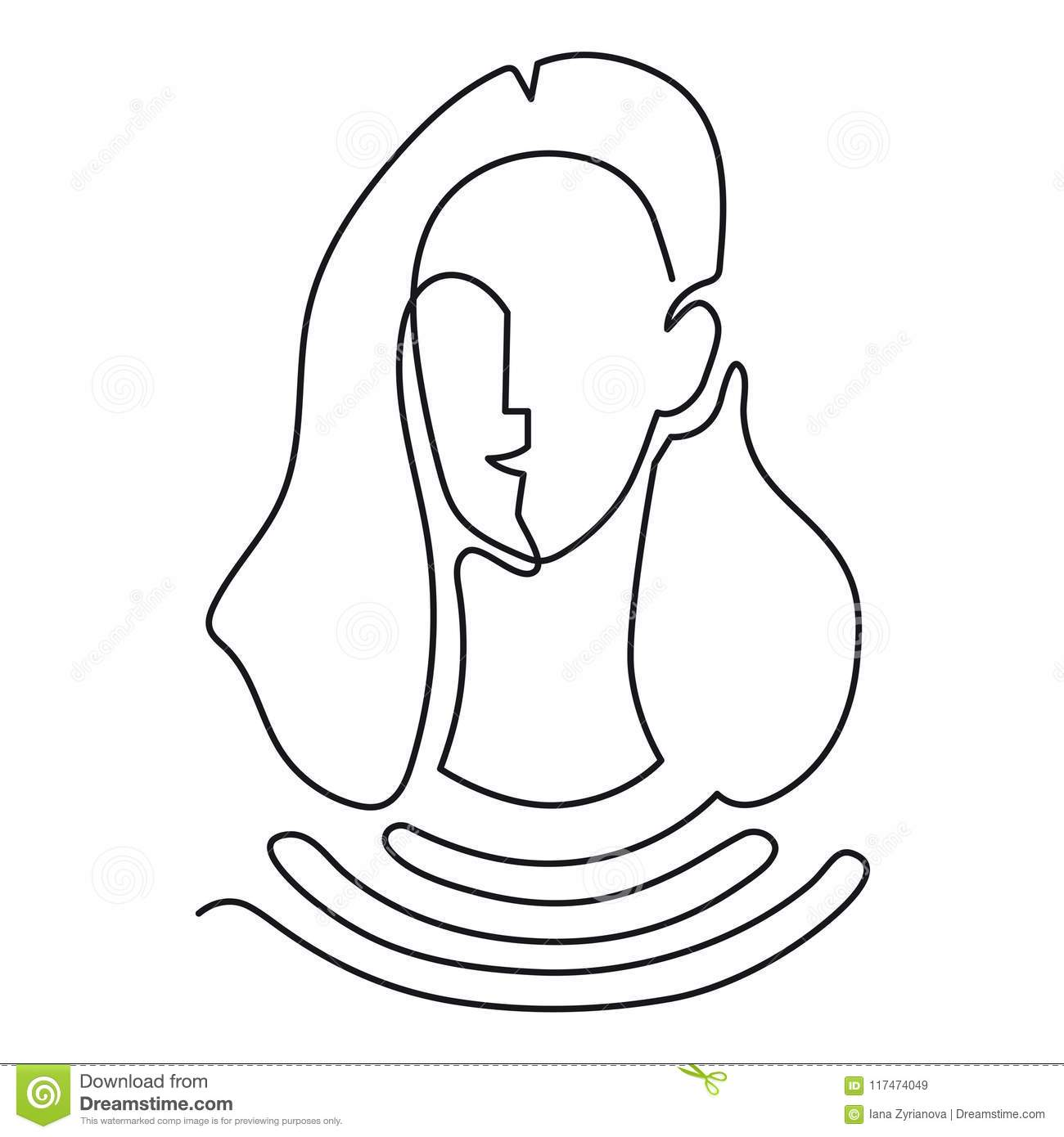 Continuous Line Drawing Abstract Portrait Of A Woman