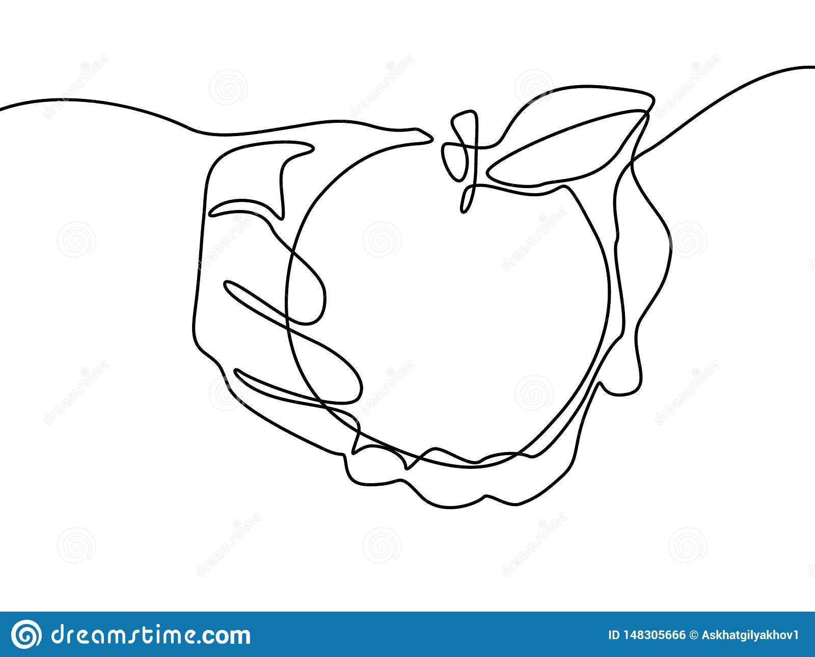 Continuous Line Drawing Apple In Hand Vector Illustration Stock Vector Illustration Of Closeup Fruit 148305666