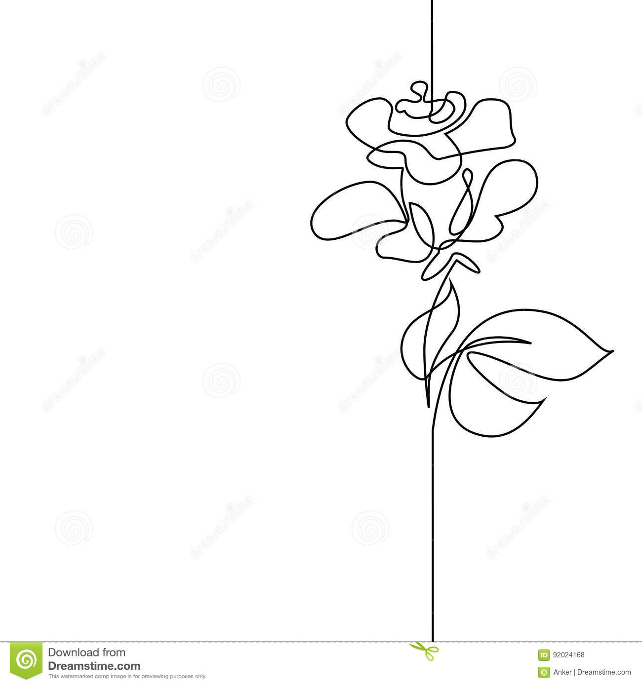 Continuous Line Drawing Of A Flower : Continuous line drawing of beautiful flower stock vector