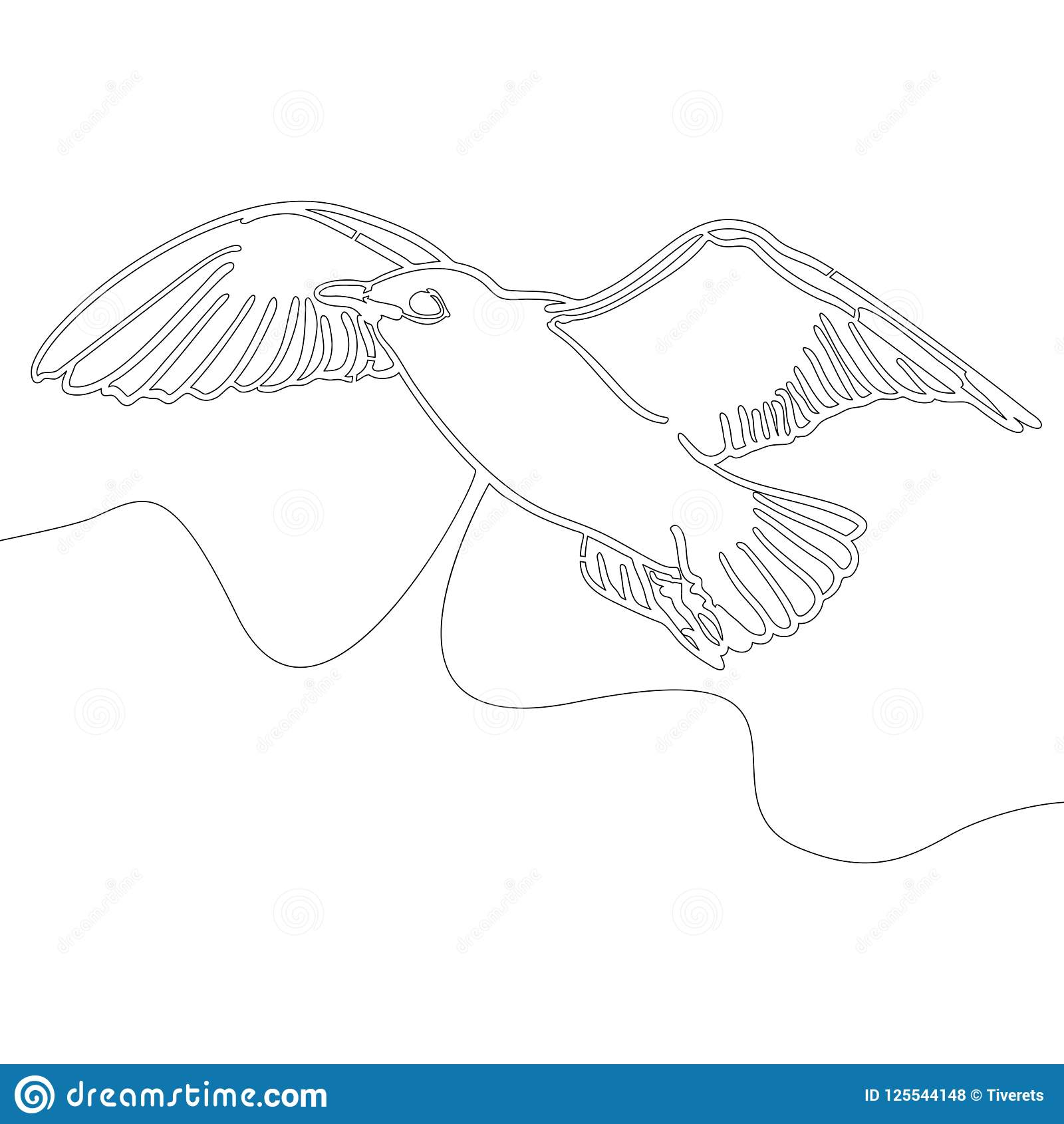 Continuous Line Drawing Bird Design Style Vector Stock