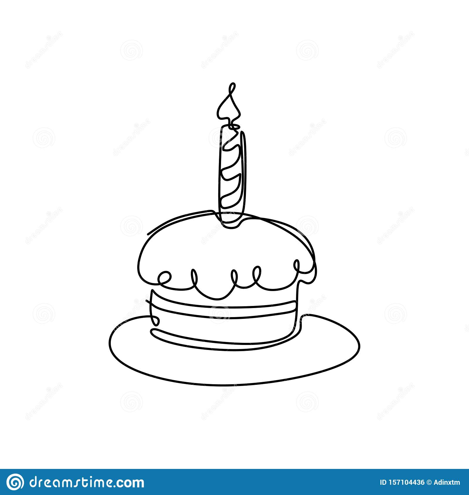 Incredible Continuous Line Drawing Birthday Cake With Candle Symbol Of Funny Birthday Cards Online Alyptdamsfinfo