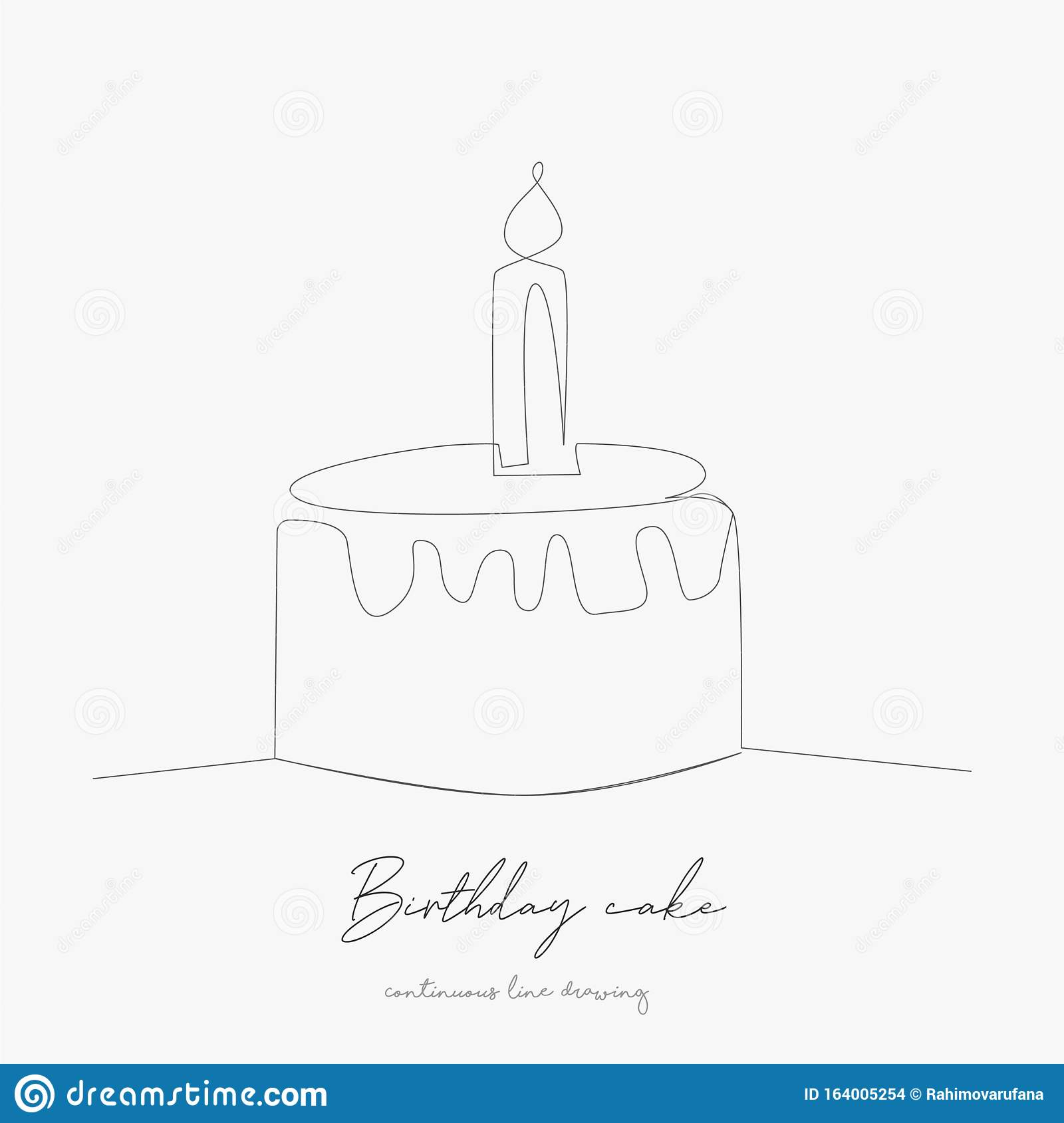 Continuous Line Drawing Birthday Cake Simple Vector Illustration Birthday Cake Concept Hand Drawing Sketch Line Stock Vector Illustration Of Doodle Event 164005254