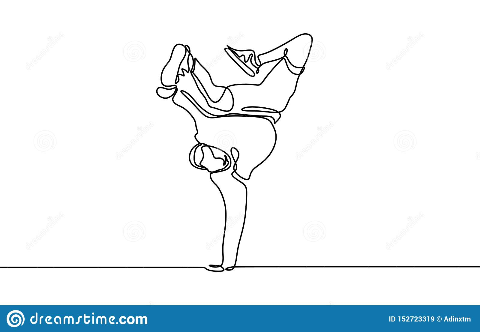 Continuous line drawing break dancer dancing sport theme isolated on white background minimalist design