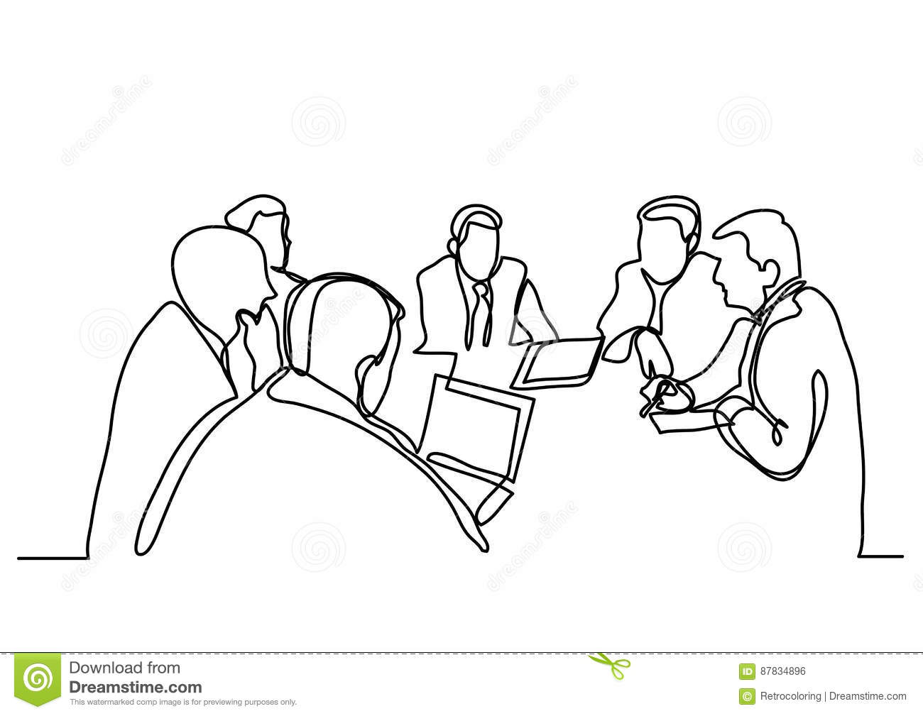 Continuous line drawing of business meeting