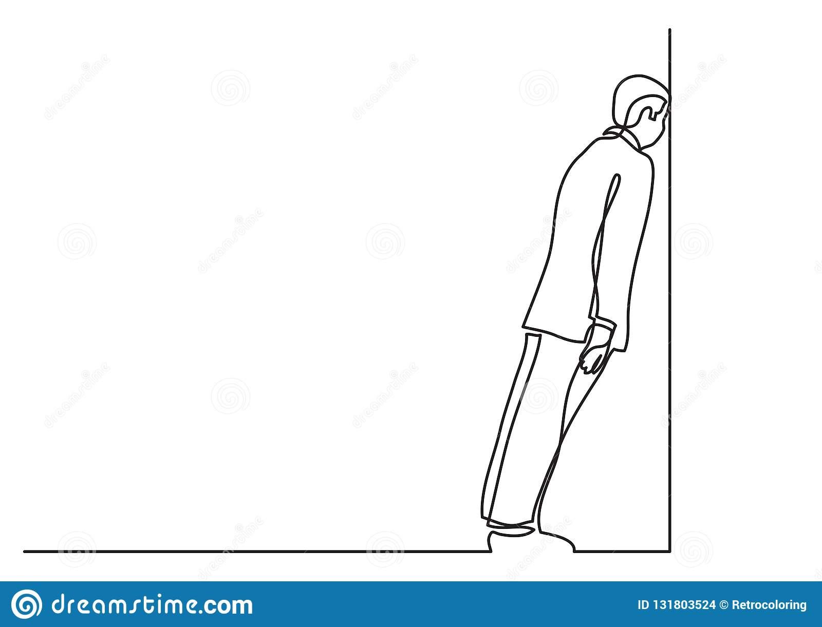 Continuous line drawing of business situation - man stuck in dead end job