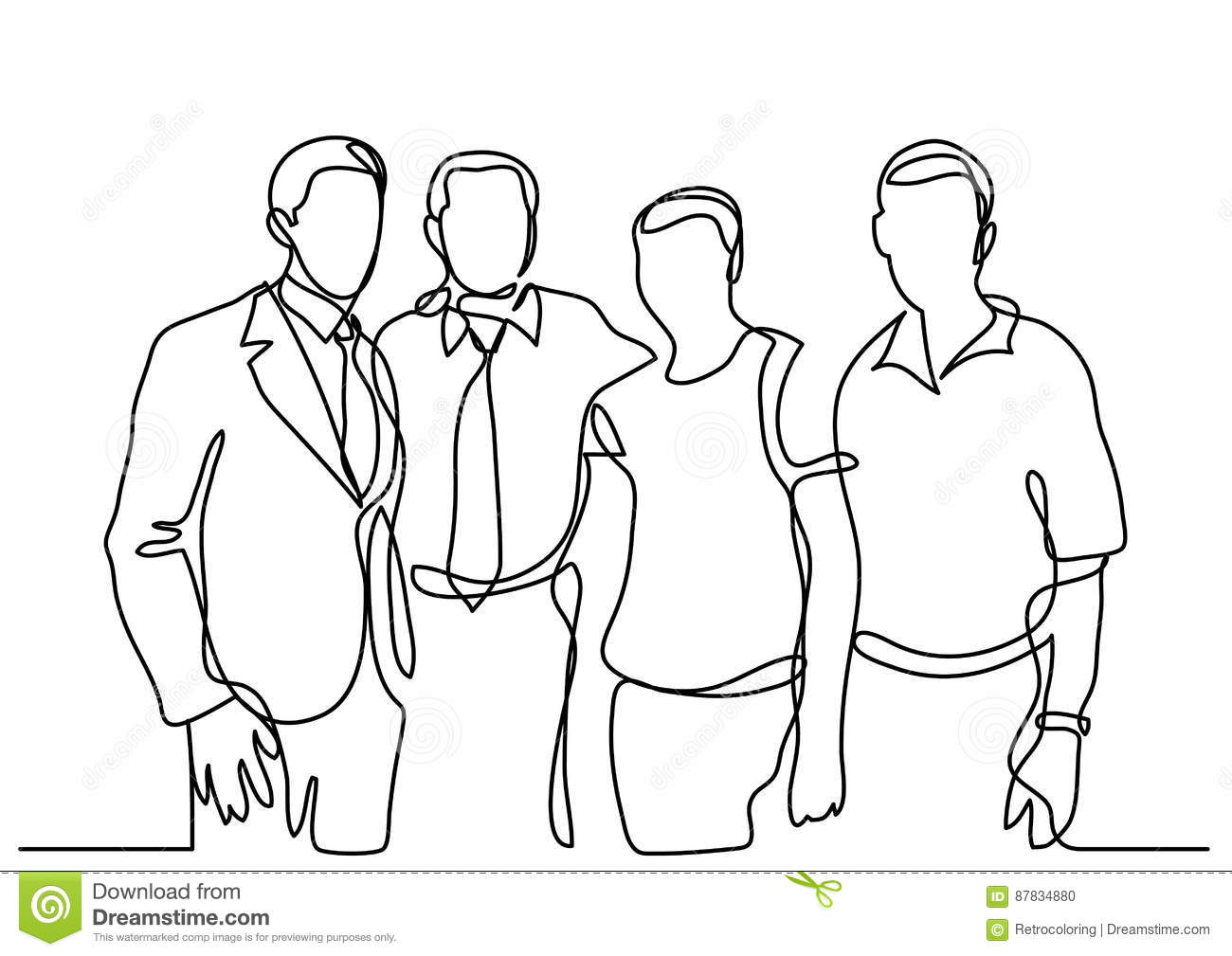 Continuous line drawing of business team