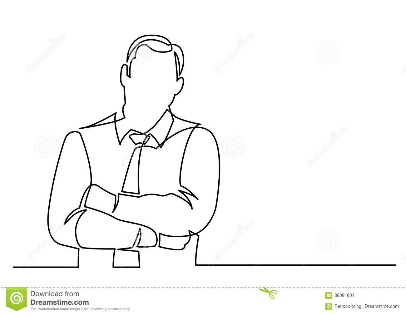 Continuous Line Drawing Of Businessman Arms Crossed Stock Vector