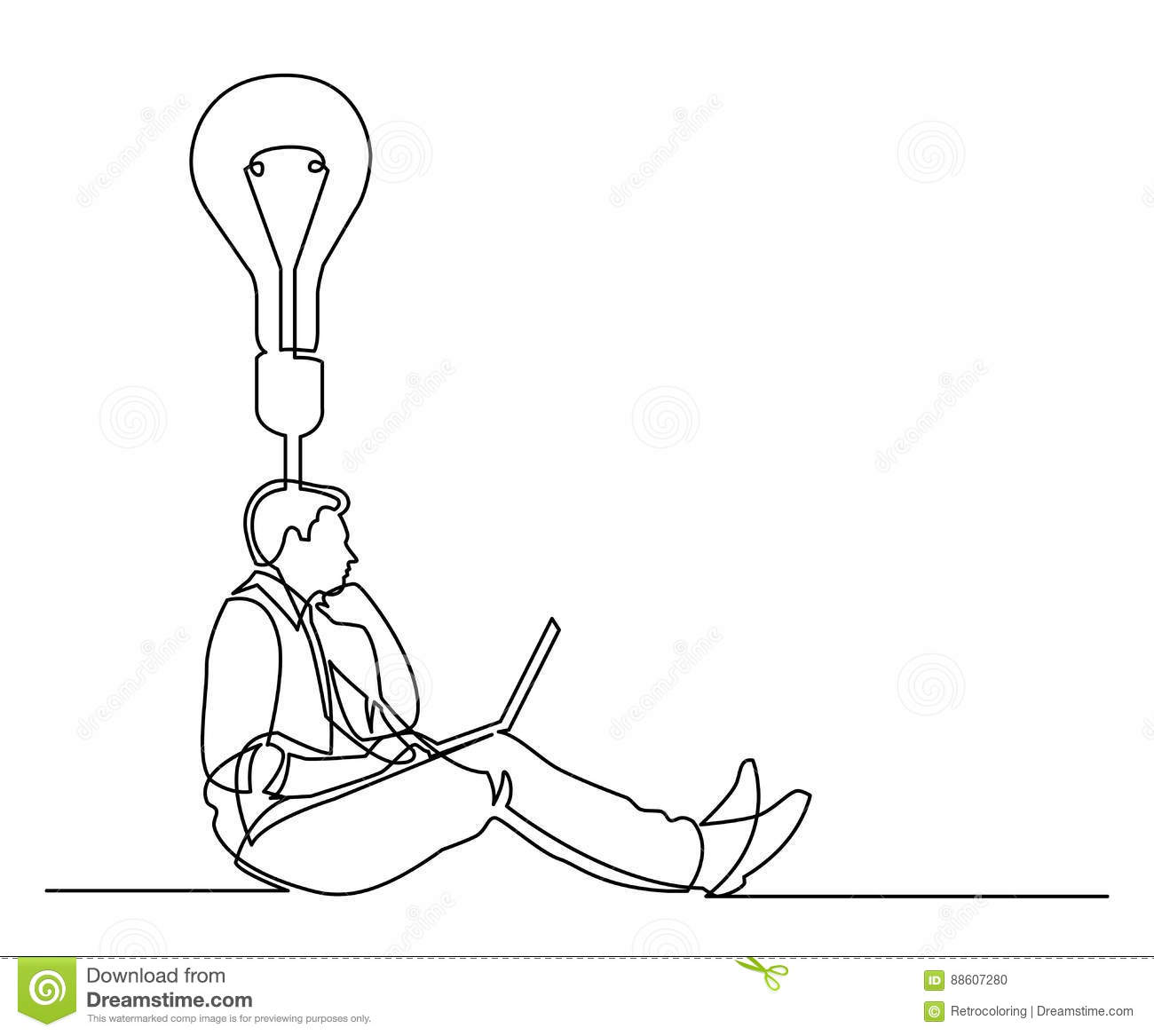 Continuous Line Drawing Of Businessman Sitting Thinking About Id