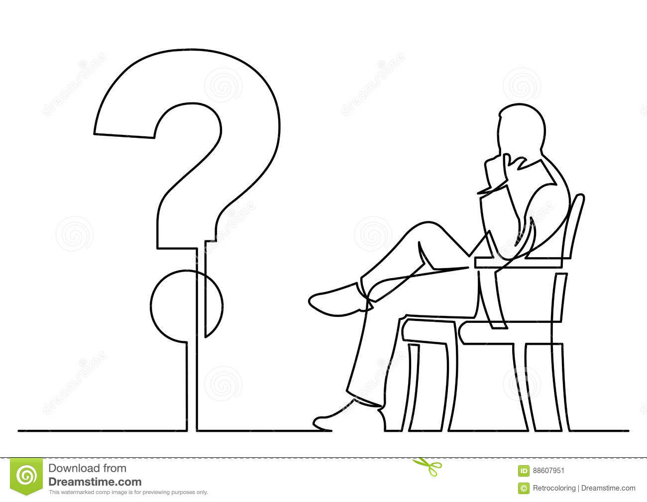 continuous line drawing of businessman sitting thinking about a Thinking and Sitting in Rocker continuous line drawing isolated layered easy edit vector illustration in eps10 format