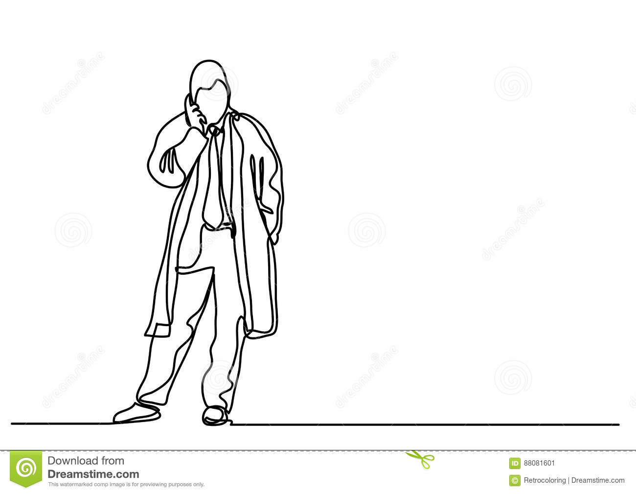 Continuous Line Drawing Of Businessman Talking On Mobilephone Stock