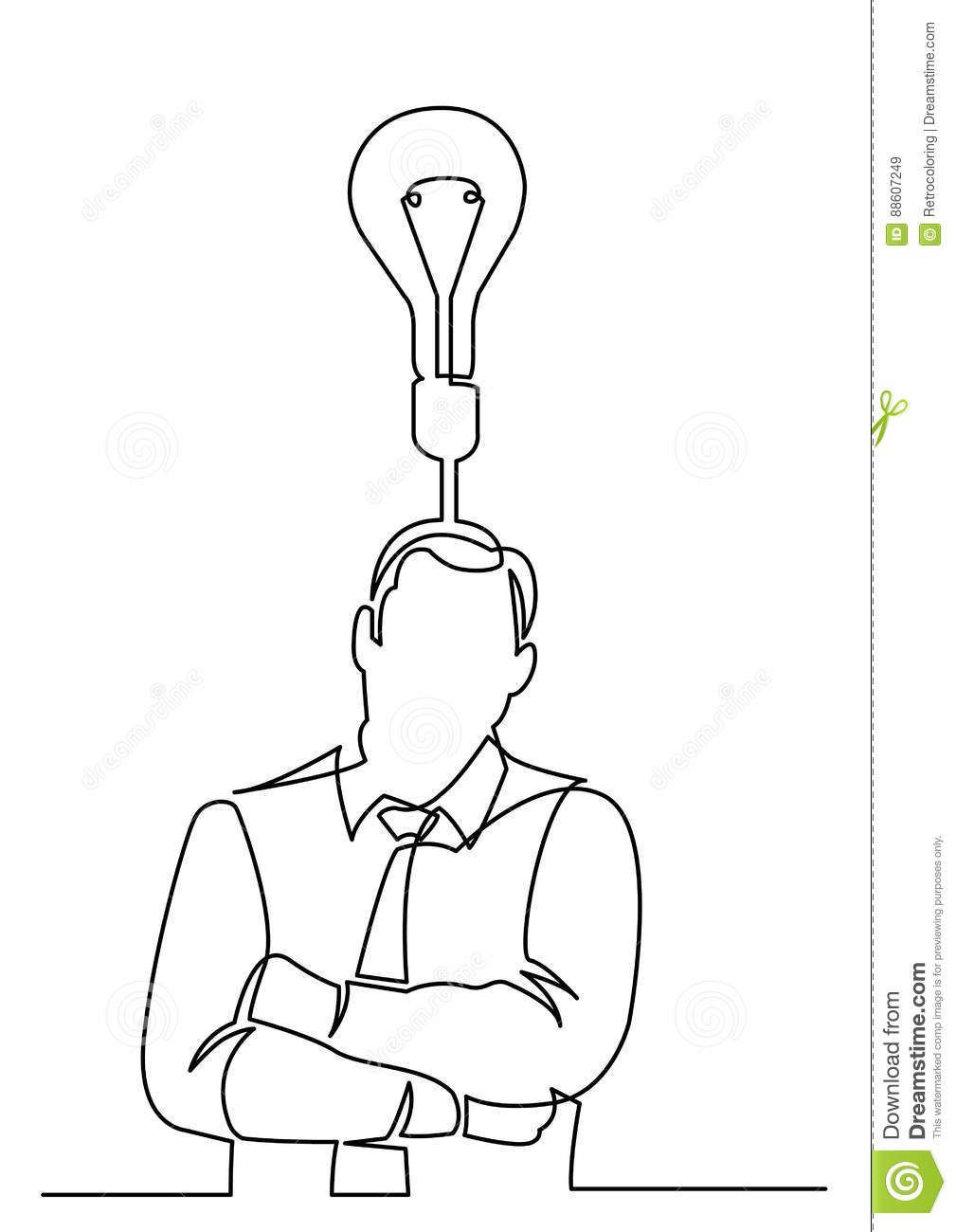 Continuous Line Drawing Of Businessman Thinking About Idea Stock