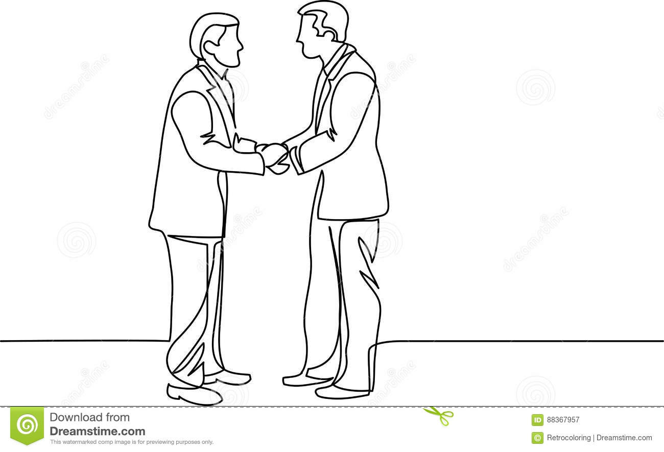 Continuous Line Drawing Of Businessmen Meeting Handshake Stock