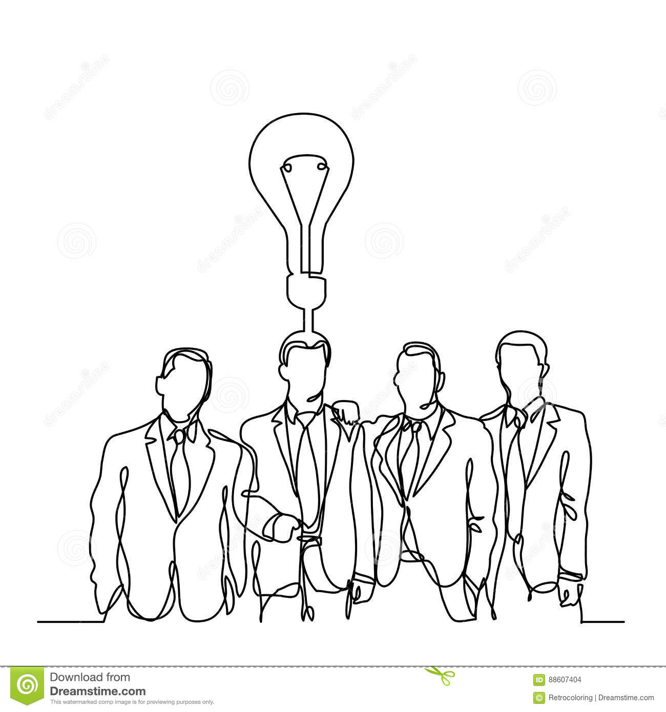 Continuous Line Drawing Of Businessmen Team With Idea Stock Vector