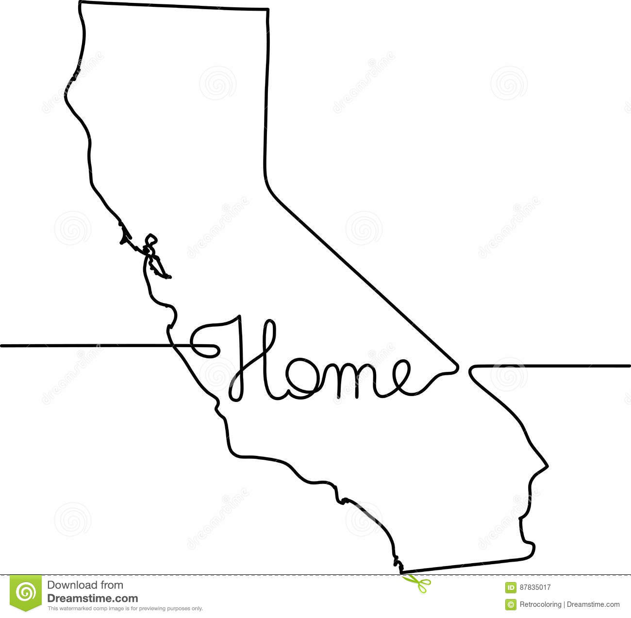 Line Art Home : Continuous line drawing of california home sign stock