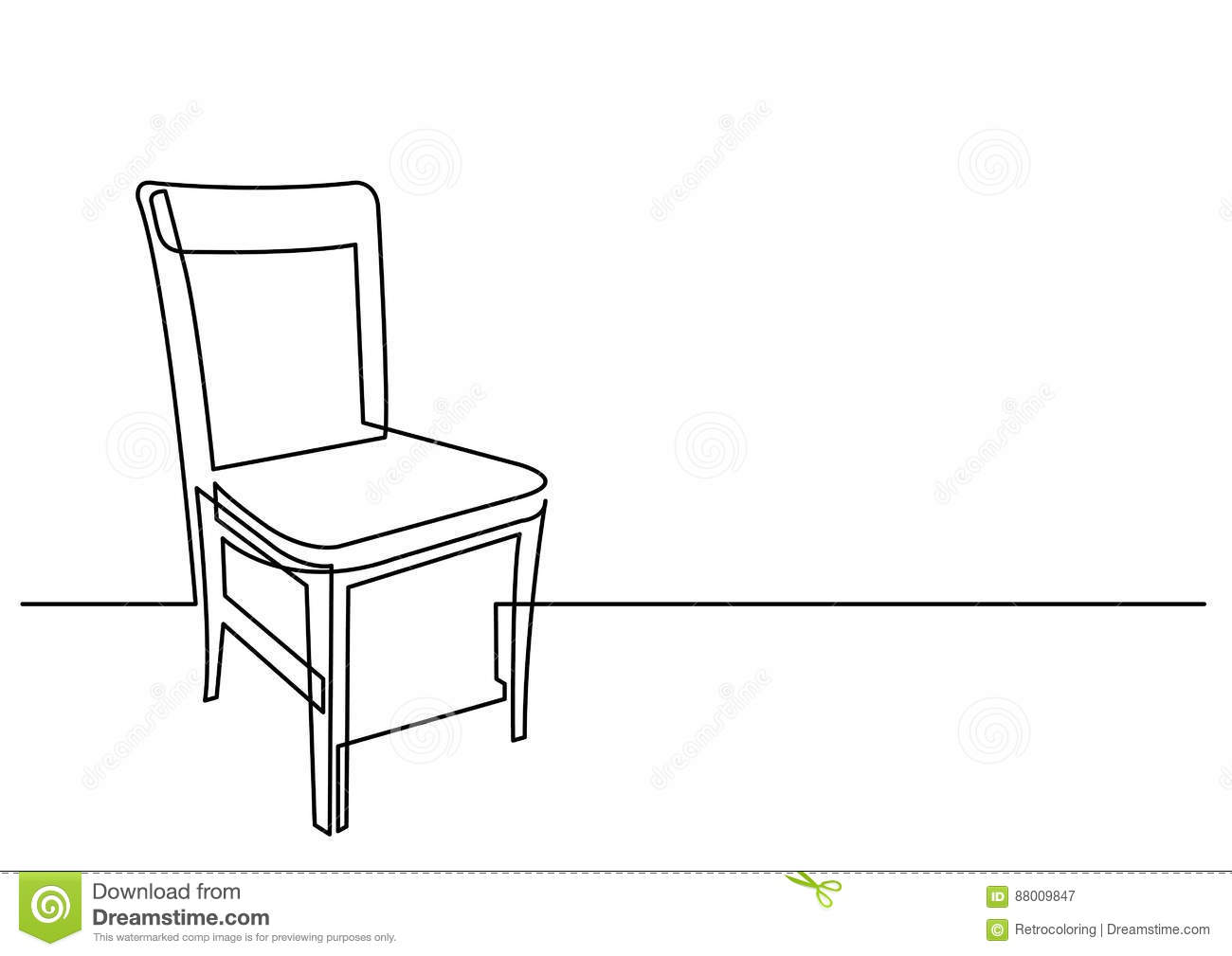 chair drawing easy. Download Continuous Line Drawing Of Chair Stock Vector - Illustration Kitchen, Item: 88009847 Easy