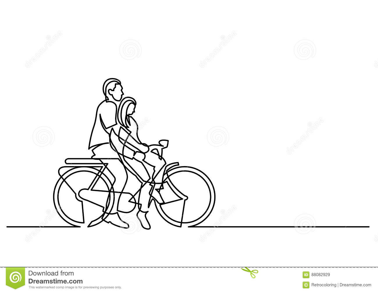 Continuous Line Drawing Of Couple Riding On Bicycle Stock Vector