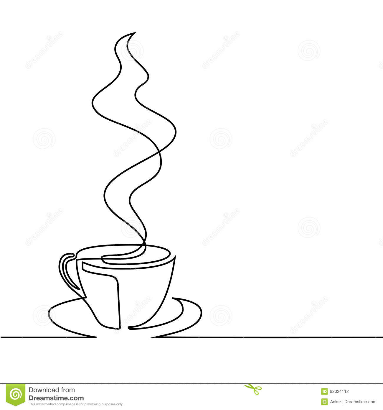 Vector Drawing Lines Java : Coffee logo cup contour line drawing vector illustration