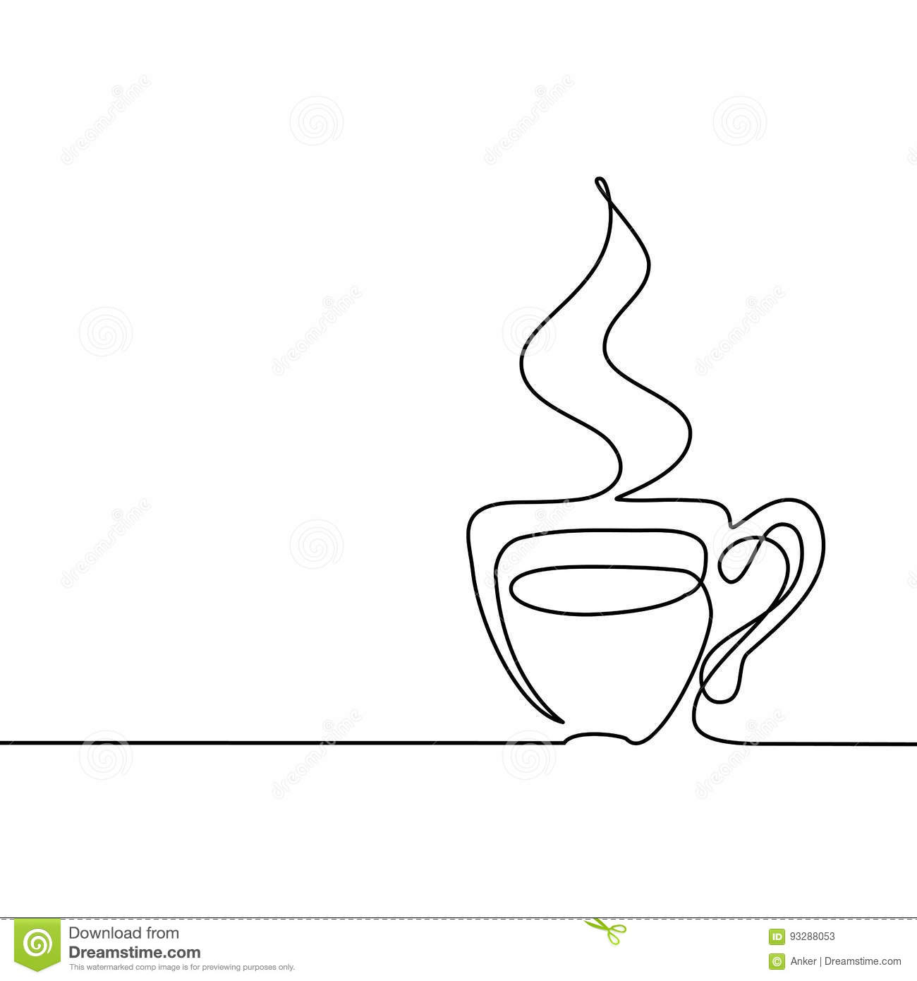 Vector Drawing Lines Html : Coffee logo cup contour line drawing vector illustration